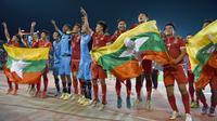 Timnas Myanmar berada satu peringkat dibawah Indonesia yakni ke-25 dengan koleksi 14.753 poin dalam daftar rangking yang dikeluarkan AFC. (AFP/Romeo Gacad)
