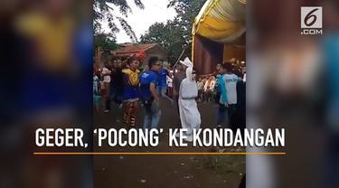 'Pocong' datang ke kondangan bikin heboh warga Indramayu.