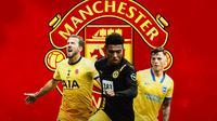 Manchester United - Harry Kane, Jadon Sancho, Ben White (Bola.com/Adreanus Titus)
