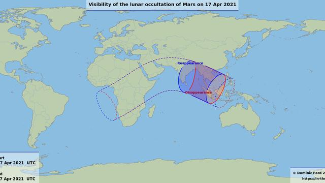 Peta Ketampakan Okultasi Mars oleh Bulan 17 April 2021. Sumber: in-the-sky.org via LAPAN.go.id