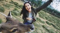 Momen liburan wanita berdarah Palembang saat di Ranca Upas, Ciwidey, Bandung.  Mantan artis cilik ini tengah menikmati pemandangan alam yang indah. Tak lupa, ia berfoto dengan rusa sebagai hewan ikonik di wisata tersebut. (Liputan6.com/IG/deaaannisa)