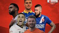 Liga 1 - Ilustrasi Jaime, Nick Kuipers, Willian Pacheco, Marco Motta, Aaron Evans (Bola.com/Adreanus Titus)