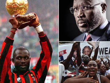Legenda hidup AC Milan, George Weah, berhasil terpilih menjadi Presiden Liberia. Peraih Ballon d'Or 1995 itu akan mnggantikan posisi dari Ellen Johnson Sirleaf pada bulan depan. (Kolase foto-foto dari AFP)
