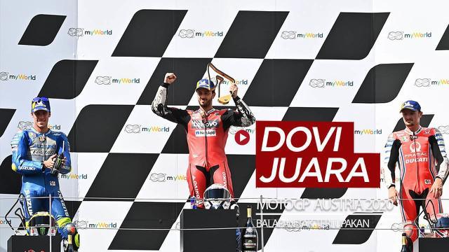 Berita video momen Andrea Dovizioso menjadi juara di balapan MotoGP Austria yang tak mungkin terlupakan, Minggu (16/8/2020) malam hari WIB.