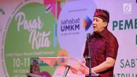 Kepala Badan Ekonomi Kreatif Triawan Munaf memberikan sambutan dalam acara pembukaan Pasar Kita oleh Sahabat UMKM di Lippo Mall Puri, Jakarta, Sabtu (10/3). Kegiatan Pasar Kita akan berlangsung pada tanggal 10-11 Maret. (Liputan6.com/Pool)