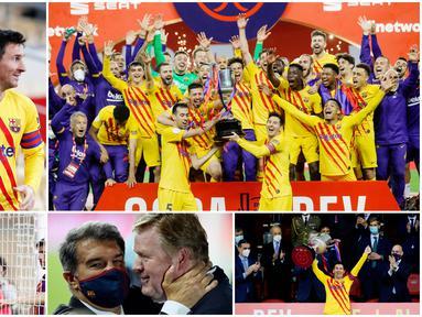 Para pemain Barcelona tak kuasa untuk menutupi kebahagiaan setelah berhasil meraih trofi perdana di era Ronald Koeman. Lionel Messi dkk menjuarai Copa del Rey usai menaklukkan Athletic Bilbao dengan skor telak empat gol tanpa balas.