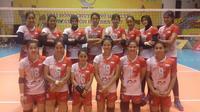 Timnas bola voli putri Indonesia melangkah ke final VTV Cup 2017 setelah mengalahkan tuan rumah Vietnam 3-2, Kamis (13/7/2017). (Humas PBVSI)