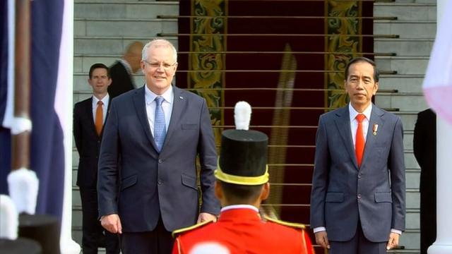 Presiden Joko Widodo menerima kunjungan Perdana Menteri Australia Scott Morrison di Istana Kepresidenan, Bogor