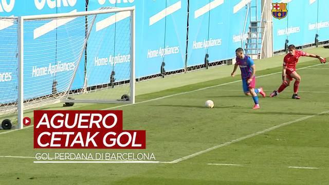 Berita video momen gol perdana Sergio Aguero bersama Barcelona. Seperti apa?