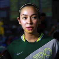 Aryani Fitri saat mengikuti futsal di bilangan Pondok Indah, Jakarta Selatan, Jumat (3/7/2015) (Deki Prayoga/Bintang.com)