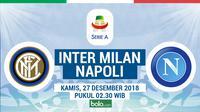 Jadwal Serie A 2018-2019 pekan ke-18, Inter Milan vs Napoli. (Bola.com/Dody Iryawan)