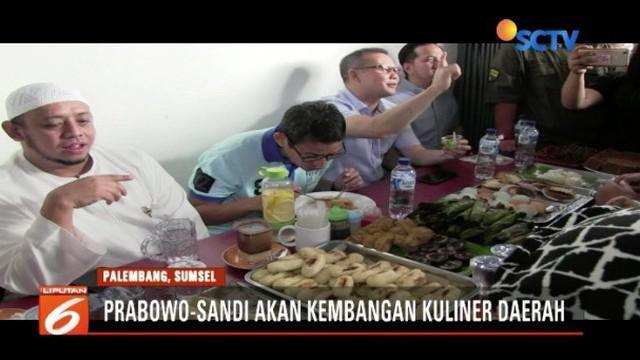 Sandiaga Uno mengungkapkan pengembangan kuliner di daerah menjadi salah satu program kerja jika Prabowo dan dirinya terpilih.