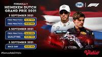 Jadwal dan Live Streaming Formula 1 Belanda 2021 Tayang di Vidio Pekan Ini, 3- 5 September 2021. (Sumber : dok. vidio.com)