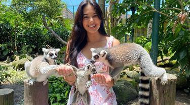 Aurelie Moeremans memang sangat menyukai dengan binatang. Seperti saat ia berkunjung di Bali Zoo. Ia tak ragu untuk bercengkerama dengan hewan asli Masdagaskar, Lemur ekor cincin. (Liputan6.com/IG/@aurelie)
