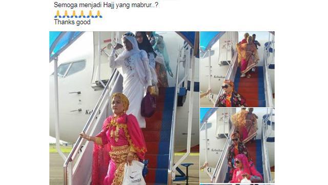 Jadi Kontroversi Warganet, Jamaah Haji Pulang Dengan Pakaian Heboh
