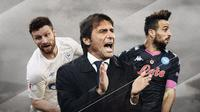 Antonio Conte, Nikola Maksimovic dan Shkodran Mustafi. (Bola.com/Dody Iryawan)