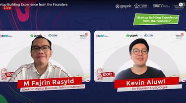 Direktur Bisnis Digital Telkom M. Fajrin Rasyid (kiri) dan Co-Founder Sekaligus CEO Gojek Kevin Aluwi