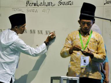 Panitia menghitung suara bakal calon ketum PBNU periode 2015-2020 pada Muktamar NU ke-33 di Jombang, Rabu (5/8/2015). Pemungutan suara bakal calon ketum PBNU tersebut diikuti 378 peserta yang terverifikasi dari 508 peserta. (Liputan6.com/Johan Tallo)
