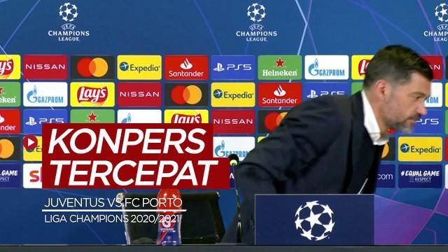 Berita video momen Pelatih FC Porto, Sergio Conceicao, menjalani konferensi pers tercepat yang mungkin ia pernah alami sepanjang karier, setelah timnya menyingkirkan Juventus dari Liga Champions 2020/2021.