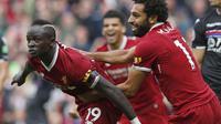 Pemain Liverpool, Sadio Mane  memiliki jumlah gol yang sama dengan Lukaku yakni tiga gol yang dicetak ke gawang Watford, Crystal Palace dan Arsenal. (Martin Rickett/PA via AP)