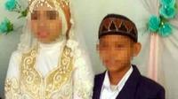 Pasangan yang melangsungkan pernikahan dini, mempelai perempuan IB (15) dan mempelai laki-laki ZA (13). (Rasidi Fadli/Radar Banjarmasin/Jawa Pos Group)