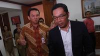 Selain itu, kedatangan Ridwan Kamil juga membahas soal penggunaan kereta untuk warga Jakarta yang ingin ke Bandung, Jakarta, (19/9/14). (Liputan6.com/Herman Zakharia)