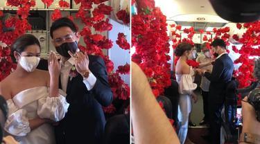Tak Biasa, Viral Pasangan Menikah dalam Pesawat di Ketinggian 37.000 Kaki
