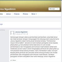 Melalui media sosial Facebook pihak keluarga Jessica Ngadimin akhirnya buka suara terkait nama Jessica dalam kasus tewasnya Wayan Mirna.