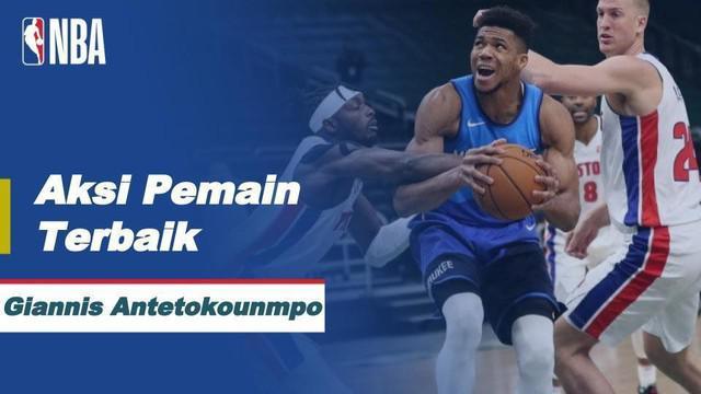 Giannis Antetokounmpo membukukan 43 poin dan sembilan rebound saat Bucks memuncaki Pistons, 125-115.
