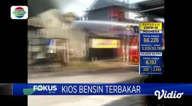Kebakaran kios bensin terjadi di Nganjuk, Jawa Timur. Api merembet hingga membuat dua ruko juga ludes terbakar. Akibat peristiwa tersebut, kakak pemilik kios bensin diduga kaget dan meninggal terkena serangan jantung.