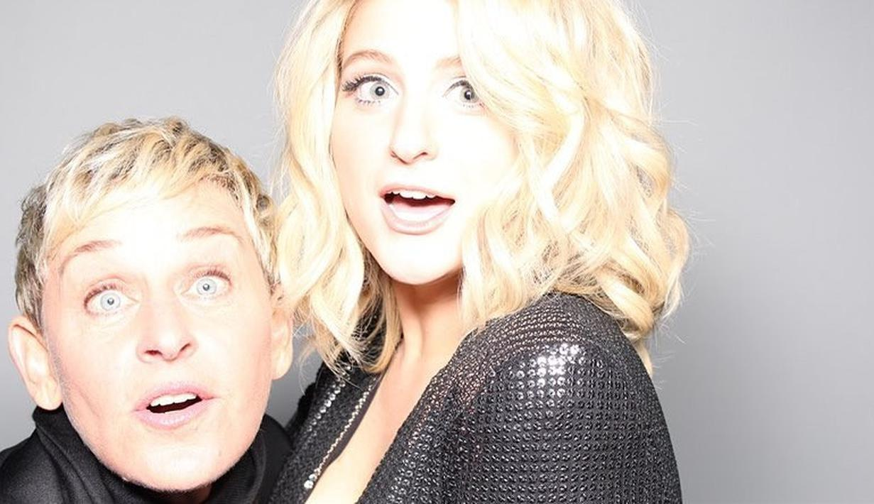 Ellen DeGeneres adakan pesta ulang tahun ke-60 yang dihadiri sejumlah selebriti Hollywood. Meghan Trainor pun hadir bersama dengan tunangannya, Daryl Sabara. (instagram/meghan_trainor)