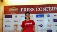 Artis Sigi Wimala ikut serta di lomba lari Borobudur Marathon 2019, Minggu (17/11/2019). (foto: Liputan6.com/Thomas)