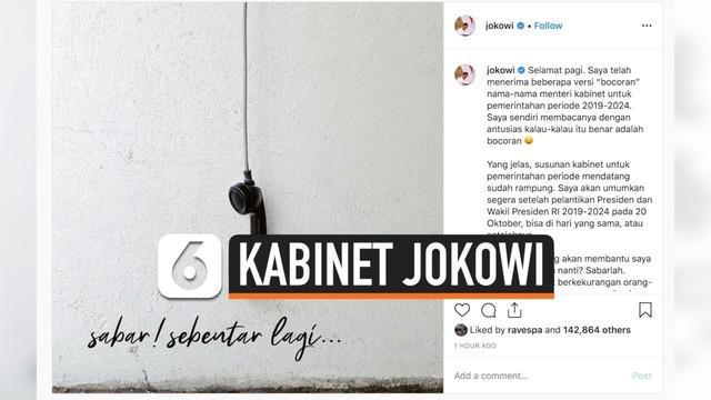 Presiden Joko Widodo sebut telah rampung menyusun kabinet untuk bekerja di masa kepemimpinannya yang kedua. Ia pun mengaku mudah untuk menemukan calon-calon menterinya.