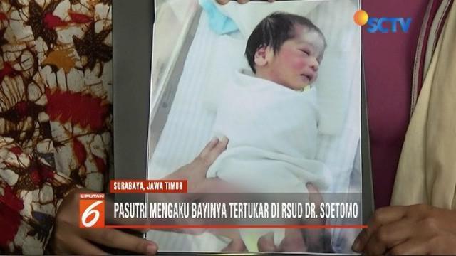 Pasangan suami istri di Surabaya, Jawa Timur, mengaku bayinya tertukar saat dilahirkan di RSUD dr Soetomo.