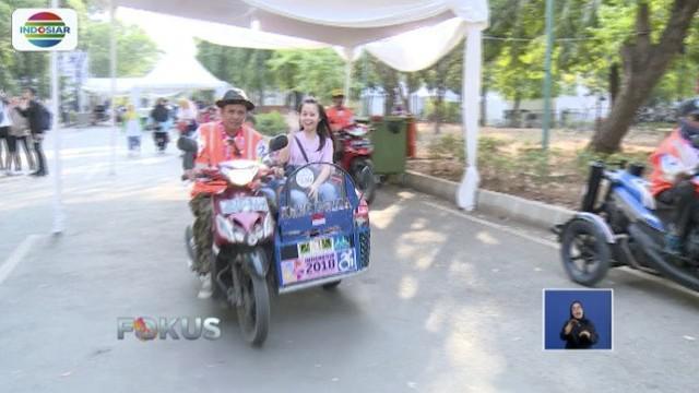 Ojek disabilitas siap mengangkut penumpang secara gratis menuju venue Asian Para Games 2018 di Gelora Bung Karno (GBK), Senayan, Jakarta.