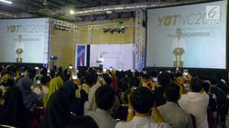 """Presiden Joko Widodo memberi sambutan saat acara """"Young On Top NationalConference (YOTCN) di Balai Kartini, Jakarta, Sabtu (25/8). YOTCN merupakan kegiatan tahunan berskala nasional. (Liputan6.com/Pool/Ist)"""