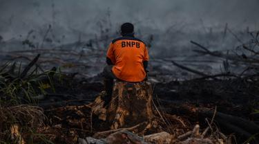 Petugas pemadam kebakaran beristirahat usai memadamkan kebakaran lahan gambut di Kampar, Riau, Senin (9/9/2019). Sulitnya sumber air di lokasi kebakaran menjadi kendala petugas untuk memadamkan bara api yang menghanguskan sedikitya lima hektare lahan gambut di kawasan tersebut.  (Wahyudi / AFP)