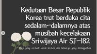 Dukacita Kedutaan Korea Selatan atas tragedi pesawat jatuh Sriwijaya Air SJ182. (Instagram koremb.idn)