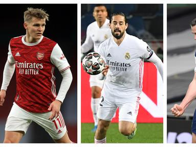Los Galacticos, kumpulan bintang-bintang. Real Madrid memang berisi para pemain bintang yang saling bersaing menunjukkan kemampuan terbaik mereka. Akibatnya, banyak bintang yang terpinggirkan dan sebaiknya memang hijrah ke tim lain. berikut 6 pemain di antaranya. (Kolase Foto AFP)