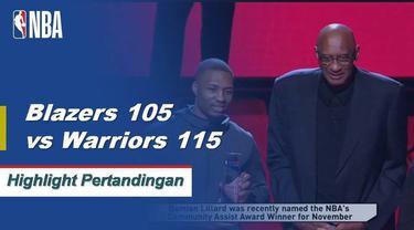 Klay Thompson mencetak 32 poin untuk Warriors saat mereka mengalahkan Blazers 115-105.