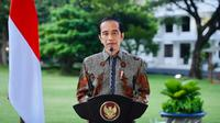 Presiden Joko Widodo (Jokowi) berterima kasih kepada umat Hindu yang beribadah tetap mematuhi protokol kesehatan saat sambutan Peringatan Dharma Santi Nasional Hari Suci Nyepi Tahun Baru Saka 1943, Sabtu (27/3/2021). (Biro Pers Sekretariat Presiden)