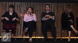 Harsiwi Ahmad memberikan paparan saat jumpa pres HUT Indosiar ke 21 di Jakarta, Kamis (7/1/2016). HUT Indosiar akan menghadirkan Konser Raya 21 Tahun disiarkan langsung dari Istora Senayan pukul 19:00 WIB. (Liputan6.com/Herman Zakharia)