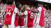 Arsenal tampil perkasa dan memenangi Derby London Utara pertama musim ini dalam lanjutan Liga Inggris 2021/2022, Minggu (26/9/2021). (AP/Frank Augstein)