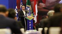 Menpora RI, Zainudin Amali, memberi sambutan saat pembukaan Kongres PSSI di Hotel Raffles, Jakarta, Sabtu (29/5/2021). Kongres tersebut akan membahas kepastian Liga 1 dan 2 2021/2022. (Bola.com/M Iqbal Ichsan)