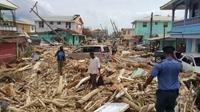 Kehancuran akibat terjangan Badai Maria di Dominika. (AFP)