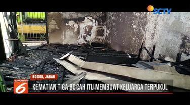 Tiga bocah tewas terbakar diduga karena bermain korek api di dalam kamar.