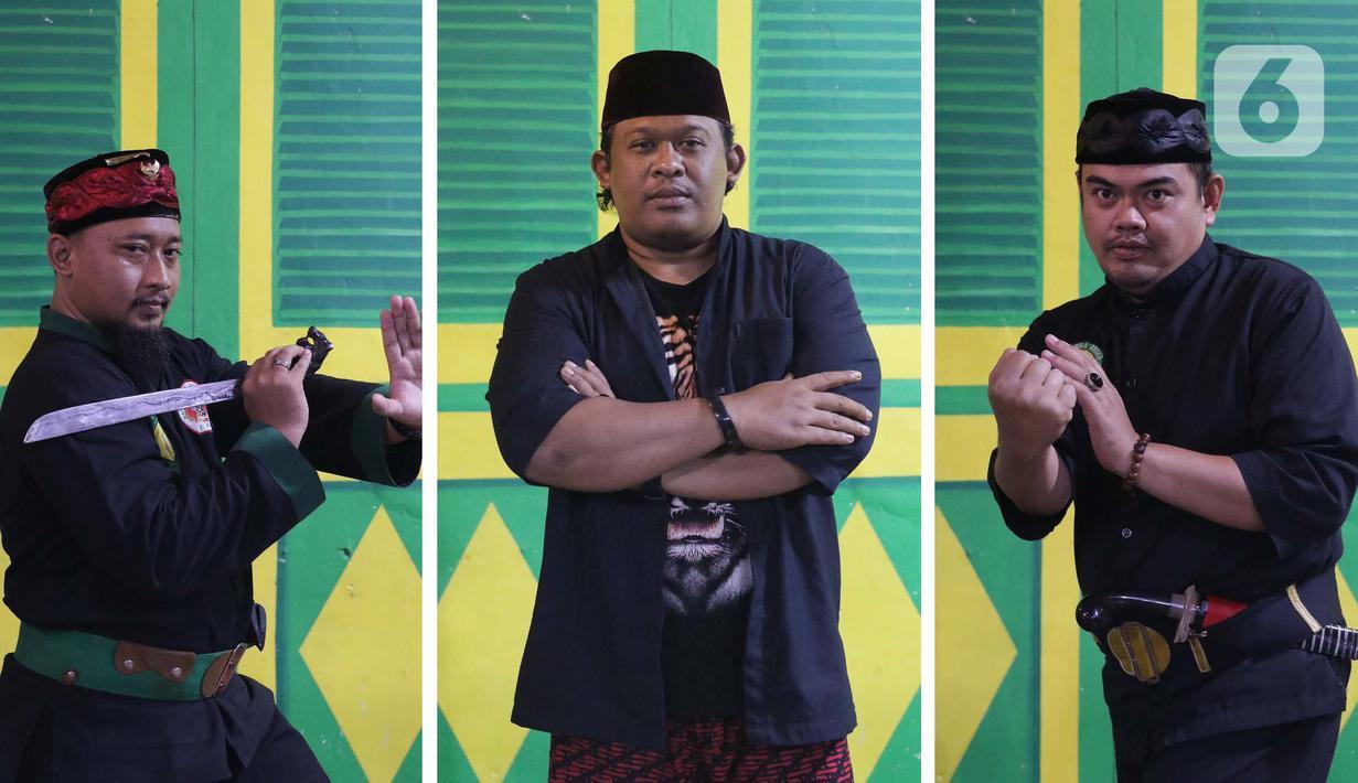 Pimpinan Sanggar Saung Dji'ih, Nahrowi atau biasa disapa Bang Awi (tengah) bersama dua pengurus Aris (kiri) dan Idris Saleh berpose saat ditemui di Kawasan Cinere, Depok, Minggu (21/02/2021). Sanggar Saung Dji'ih merupakan wadah pelestarian adat dan budaya Betawi. (Liputan6.com/Helmi Fithriansyah)