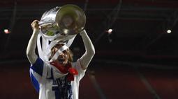Luka Modric. Bersama Real Madrid berhasil mengalahkan Atletico Madrid 4-1 dalam partai final Liga Champions 2013/2014 di Luz Stadium, Lisbon, 24 Mei 2014. (AFP/Franck Fife)