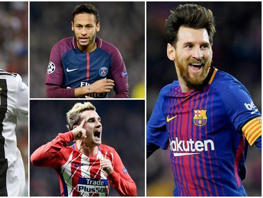 Media asal Prancis, L'Equipe, merilis daftar pemain sepak bola dengan gaji perbulan tertinggi. Dalam daftar tersebut bintang Barcelona Lionel Messi menempati posisi teratas mengalahkan Crisitiano Ronaldo. (Foto Kolase AP dan AFP)