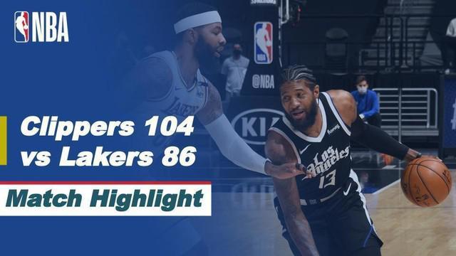 Berita video highlights NBA 2020/2021 antara LA Clippers melawan LA Lakers yang berakhir dengan skor 104-86, Senin (5/4/2021) dinihari WIB.